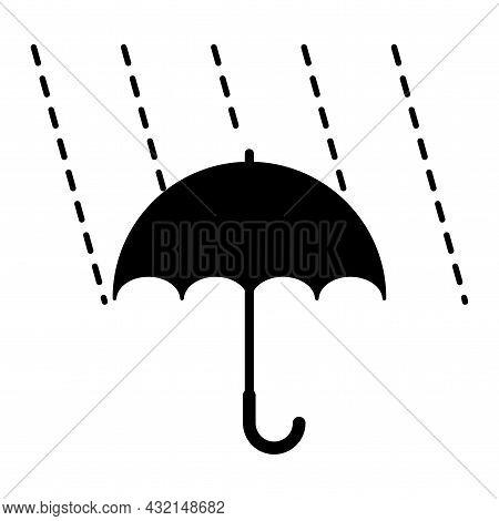 Black Umbrella And Rain Drops Icon. Rain Weather. Parasol Emblem. Meteorology Concept. Vector Illust