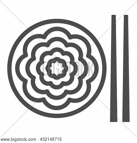 Fried Yakisoba Noodles Line Icon, Asian Food Concept, Chinese Noodle Stir Fry Dish Vector Sign On Wh