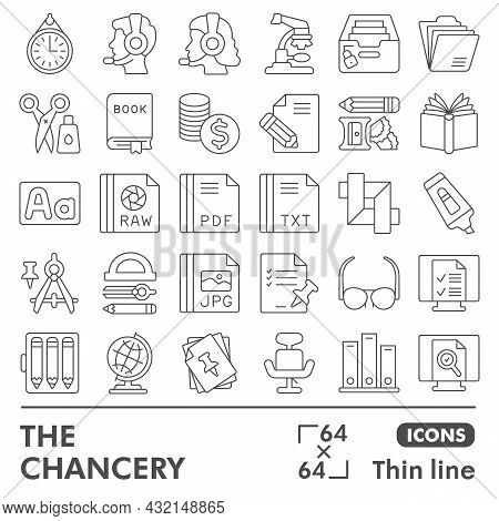 Chancery Line Icon Set, Files And Documents Symbols Collection Or Sketches. Office Supplies Thin Lin
