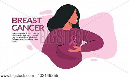 Breast Cancer Awareness Banner Illustration. Faceless Woman With Pink Ribbon. Pink October Month Fem