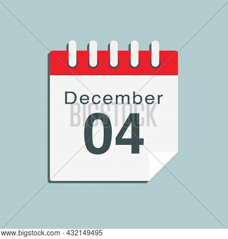 Icon Day Date 4 December, Template Calendar Page