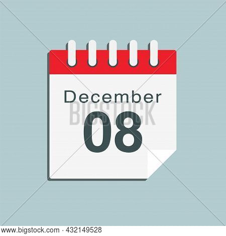 Icon Day Date 8 December, Template Calendar Page