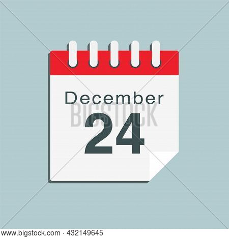 Icon Day Date 24 December, Template Calendar Page