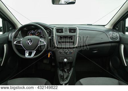 Novosibirsk, Russia - July 01, 2021: Renault Sandero, Steering Wheel, Shift Lever, Multimedia  Syste
