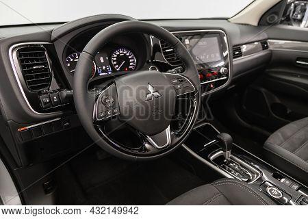 Novosibirsk, Russia - August 31, 2021:mitsubishi Asx, Cockpit Interior Cabin Details, Speedometer An