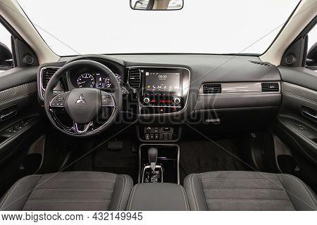 Novosibirsk, Russia - August 31, 2021:mitsubishi Asx, Steering Wheel, Shift Lever, Multimedia  Syste