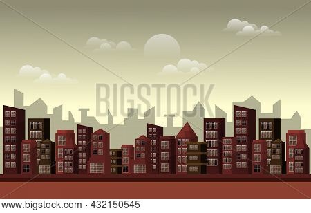 Twilight Afternoon City Urban Skyscraper Building Cityscape Flat Design Illustration