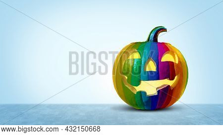 Diverse Halloween Holiday And Diversity As A Pumpkin On A Blue Background As A Jack O Lantern Season