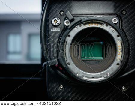 Close-up Of The Sensor Glass Of A Full Frame 4k Film Camera.