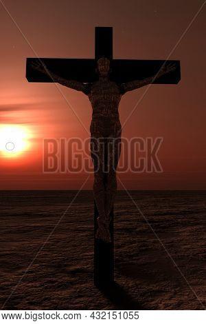 Crucified cyborg in empty landscape. 3D rendering.