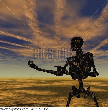 Cyborg stands in empty landscape. Sci-fi composition. 3D rendering