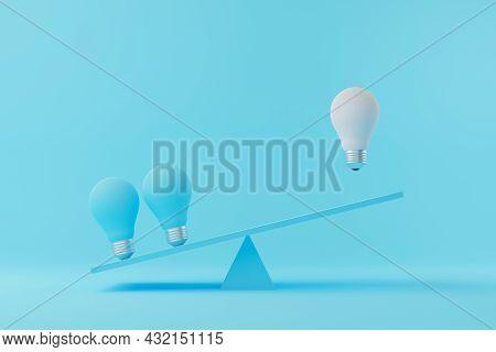 Light Bulb Floating Between Light Blue Lightbulb On Seesaw. Creative Thinking Ideas And Innovation C