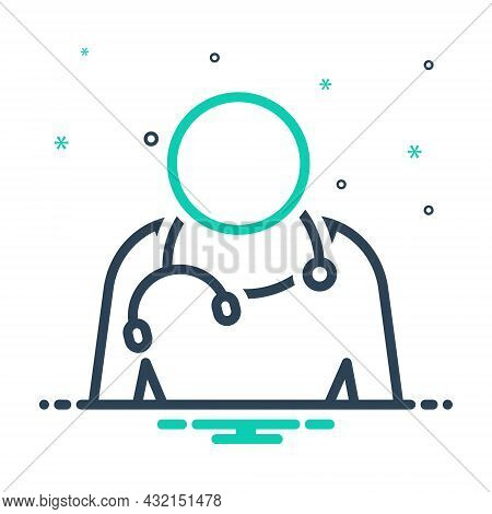 Mix Icon For Profession Business Doctor Surgeon Medical Vocation Stethoscope Line-of-employment Entr