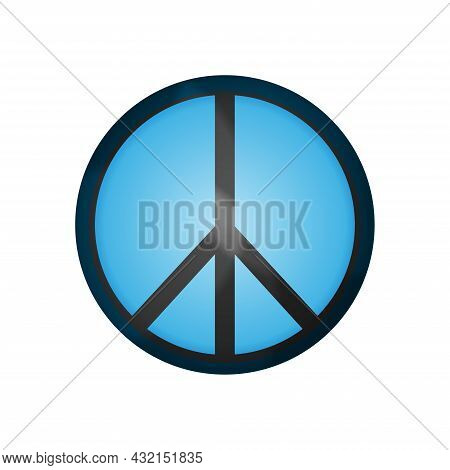 Blue Peace Button On A White Background. Day Of Peace.