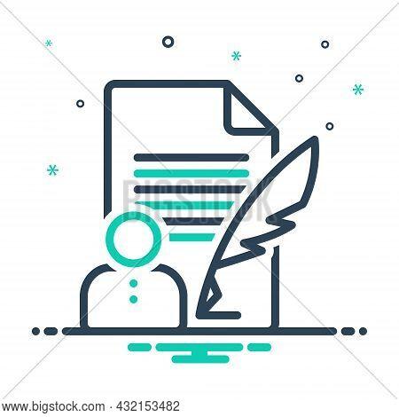 Mix Icon For Author Novelist Poet Biographer Paperwork Artist Writing Editors Writer Notepad Pen