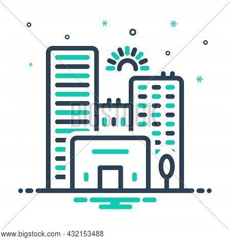 Mix Icon For City Town State Building Skyscraper Apartment Architecture Construction Urban Civilizat
