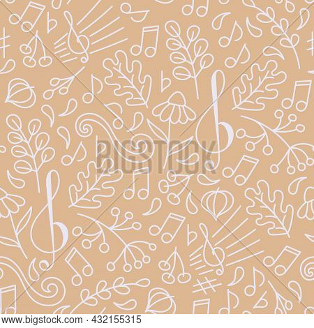 Doodle Seamless Pattern . Autumn Music. Backdrop Of A Music Concert Or Festival. Oak Leaves, Berries