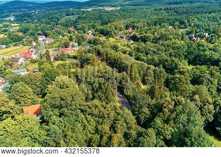Mountain Village With Forests, Bird Eye View. Sleza Mountain Landscape Near Wroclaw In Poland. Natur