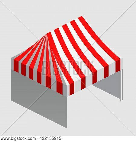 Isometric Market Stall, Tent. Street Awning Canopy Kiosk, Counter, White Red Strings For Fair, Stree