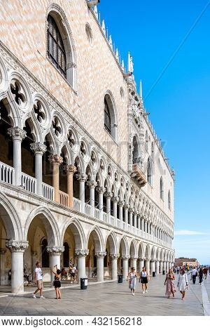 Venice, Italy - August 02, 2021: Tourist On Piazzeta Of Saint Mark Square, Italian: Piazzetta Di San