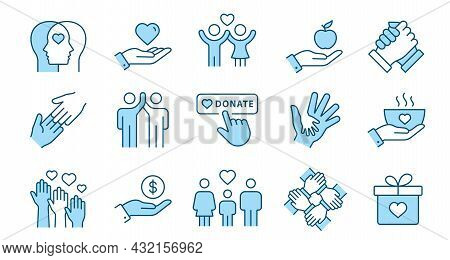 Charity Line Icon Set. Collection Of Handshake, Donate, Philanthropist, Hope And More. Editable Stro