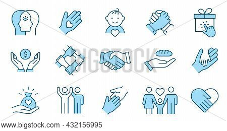 Charity Line Icon Set. Collection Of Donate, Philanthropist, Hope And More. Editable Stroke