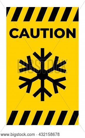 Triangle Warning Sign With Snowflake Symbol Isolate On White Background,vector Illustration Eps.10