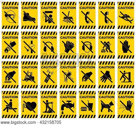 Set Caution Prohibition Sign Symbol On White Background