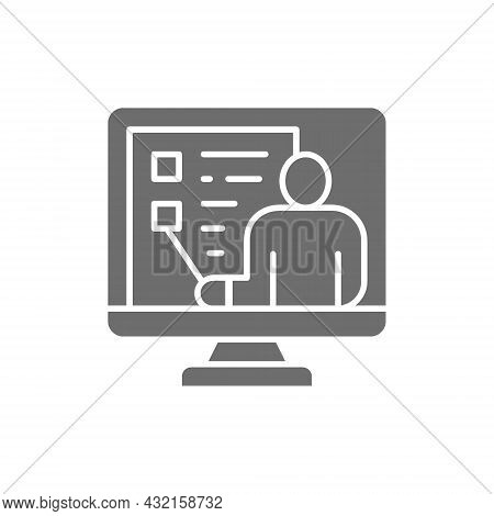 Video Education, Webinar, Web Conference, Online Support Grey Icon.