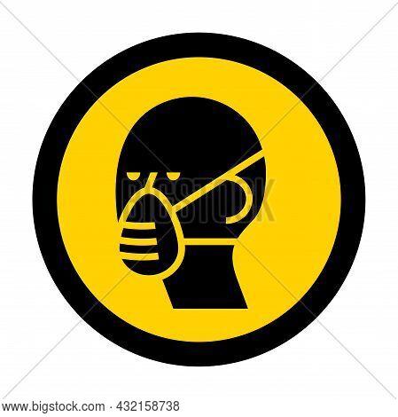 Symbol Protective Mask Icon On White Background