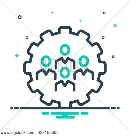 Mix Icon For Cooperation Co-operation Collaborate Conjunction Unity Teamwork Group People Process