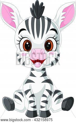 Vector Illustration Of Cartoon Cute Baby Zebra Sitting