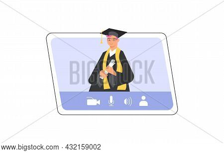 Happy Graduate Man On Pc Screen Wearing Academic Gown