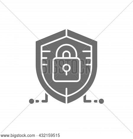 Antivirus, Data Protection, Cyber Security Grey Icon.