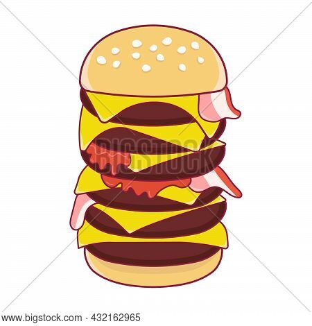 Giant Burger With Cheese And Bacon. Vector Illustration On A White Background.