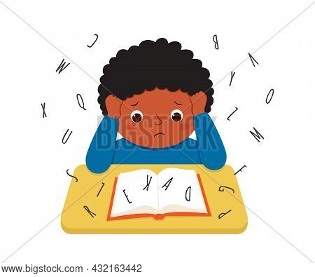 Child Suffering With Dyslexia Is Having Difficulty In Reading A Book. Stressed Little Boy Doing Hard
