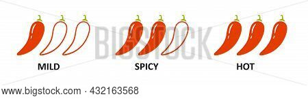Level Marks - Mild, And Hot. Red Chili Pepper. Chili Level Icons Set. Vector Illustration Isolated O