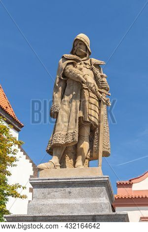 Tabor, Czech Republic - 07 24 2021: Monument To Czech National Hero Jan Zizka, Statue Of John Zizka