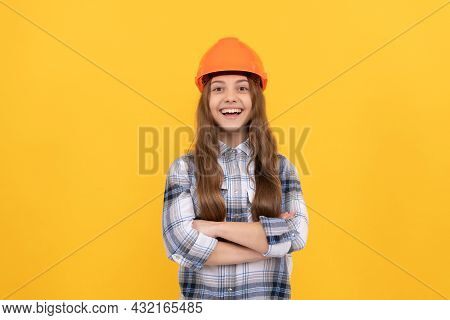 Nice Smile. Building And Construction Concept. Happy Child Worker Wear Hardhat.