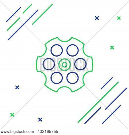 Line Revolver Cylinder Icon Isolated On White Background. Colorful Outline Concept. Vector