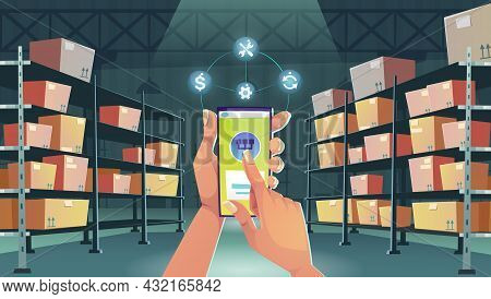 Hands With Smartphone On Warehouse Interior Background. Smart Logistics, Cargo And Goods Delivery Po