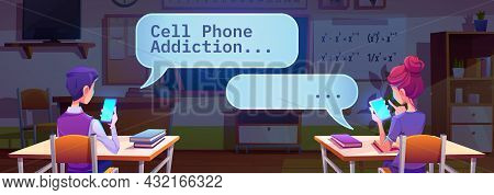 Students Chatting By Cell Phones In Classroom During Mathematics Lesson, Gadget Addiction Concept Wi