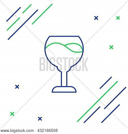 Line Wine Glass Icon Isolated On White Background. Wineglass Sign. Colorful Outline Concept. Vector