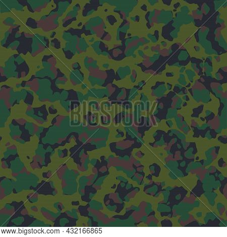 Military Background Of Soldier Khaki Green Camouflaging Seamless Pattern. Modern Vector Camo Texture