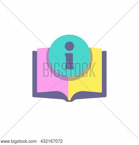 Information Book Flat Icon, Vector Sign, Manual, Info Colorful Pictogram Isolated On White. Symbol,