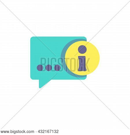 Info Help Desk Flat Icon, Vector Sign, Information Speech Colorful Pictogram Isolated On White. Symb