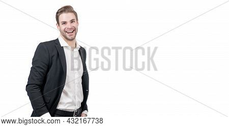 Staying Optimistic. Happy Businessman. Successful Man Happy Smiling