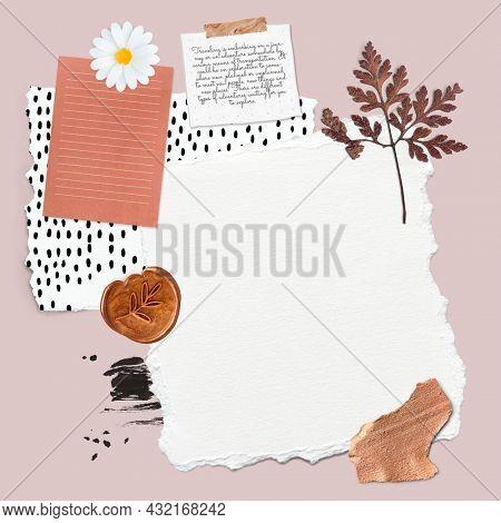 Floral feminine scrapbook collage design resource