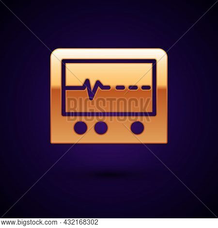 Gold Beat Dead In Monitor Icon Isolated On Black Background. Ecg Showing Death. Vector
