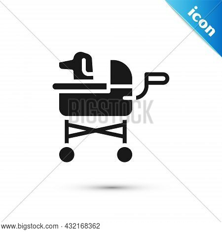 Grey Pet Stroller Icon Isolated On White Background. Vector
